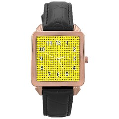 Heart Circle Star Seamless Pattern Rose Gold Leather Watch