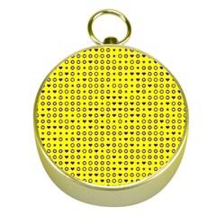 Heart Circle Star Seamless Pattern Gold Compasses