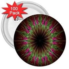 Julian Star Star Fun Green Violet 3  Buttons (100 Pack)