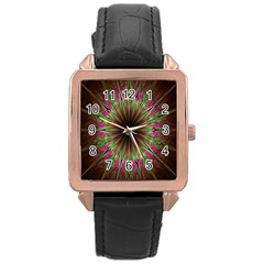 Julian Star Star Fun Green Violet Rose Gold Leather Watch