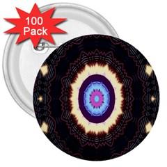 Mandala Art Design Pattern Ornament Flower Floral 3  Buttons (100 Pack)