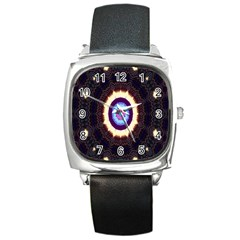 Mandala Art Design Pattern Ornament Flower Floral Square Metal Watch