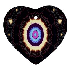 Mandala Art Design Pattern Ornament Flower Floral Heart Ornament (two Sides)