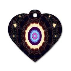 Mandala Art Design Pattern Ornament Flower Floral Dog Tag Heart (two Sides)