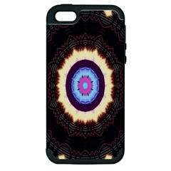 Mandala Art Design Pattern Ornament Flower Floral Apple iPhone 5 Hardshell Case (PC+Silicone)