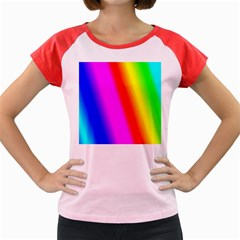 Multi Color Rainbow Background Women s Cap Sleeve T Shirt