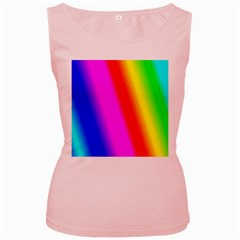 Multi Color Rainbow Background Women s Pink Tank Top