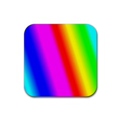 Multi Color Rainbow Background Rubber Square Coaster (4 pack)