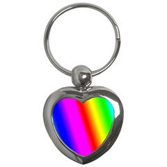 Multi Color Rainbow Background Key Chains (heart)