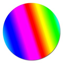 Multi Color Rainbow Background Magnet 5  (round)