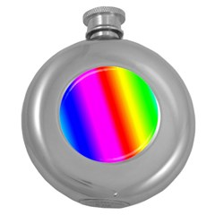 Multi Color Rainbow Background Round Hip Flask (5 Oz)