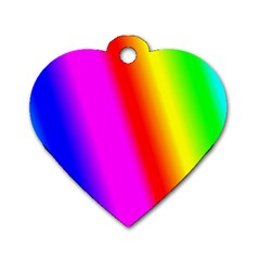 Multi Color Rainbow Background Dog Tag Heart (Two Sides)