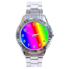 Multi Color Rainbow Background Stainless Steel Analogue Watch