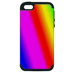 Multi Color Rainbow Background Apple Iphone 5 Hardshell Case (pc+silicone)