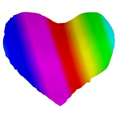 Multi Color Rainbow Background Large 19  Premium Heart Shape Cushions