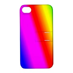 Multi Color Rainbow Background Apple Iphone 4/4s Hardshell Case With Stand