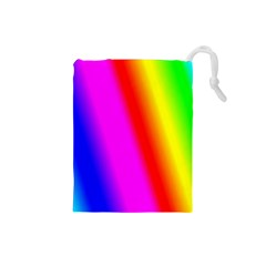 Multi Color Rainbow Background Drawstring Pouches (small)