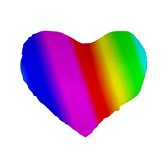 Multi Color Rainbow Background Standard 16  Premium Flano Heart Shape Cushions