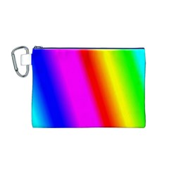 Multi Color Rainbow Background Canvas Cosmetic Bag (M)