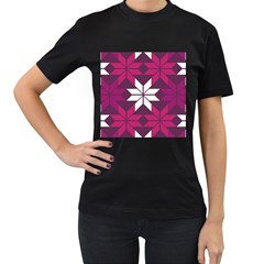 Pattern Background Texture Aztec Women s T Shirt (black) (two Sided)