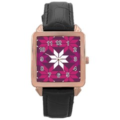 Pattern Background Texture Aztec Rose Gold Leather Watch