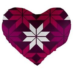 Pattern Background Texture Aztec Large 19  Premium Flano Heart Shape Cushions