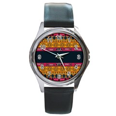 Pattern Ornaments Africa Safari Summer Graphic Round Metal Watch