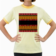 Pattern Ornaments Africa Safari Summer Graphic Women s Fitted Ringer T Shirts