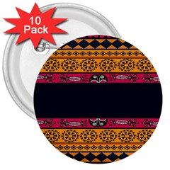 Pattern Ornaments Africa Safari Summer Graphic 3  Buttons (10 Pack)