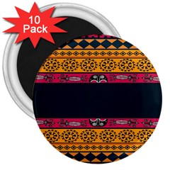 Pattern Ornaments Africa Safari Summer Graphic 3  Magnets (10 pack)