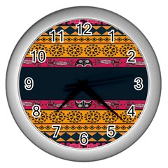 Pattern Ornaments Africa Safari Summer Graphic Wall Clocks (Silver)
