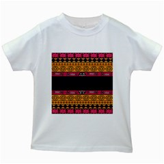 Pattern Ornaments Africa Safari Summer Graphic Kids White T-Shirts