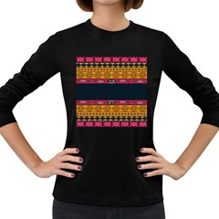 Pattern Ornaments Africa Safari Summer Graphic Women s Long Sleeve Dark T Shirts