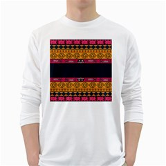 Pattern Ornaments Africa Safari Summer Graphic White Long Sleeve T-Shirts
