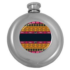 Pattern Ornaments Africa Safari Summer Graphic Round Hip Flask (5 Oz)