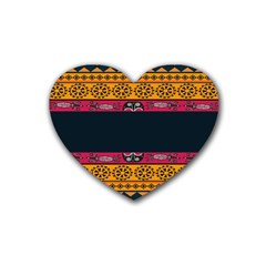 Pattern Ornaments Africa Safari Summer Graphic Heart Coaster (4 Pack)