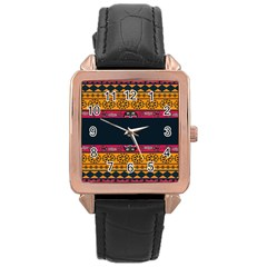 Pattern Ornaments Africa Safari Summer Graphic Rose Gold Leather Watch