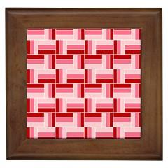 Pink Red Burgundy Pattern Stripes Framed Tiles