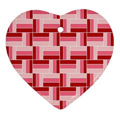 Pink Red Burgundy Pattern Stripes Ornament (heart)