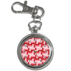 Pink Red Burgundy Pattern Stripes Key Chain Watches