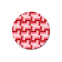 Pink Red Burgundy Pattern Stripes Magnet 3  (round)