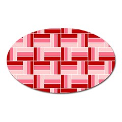 Pink Red Burgundy Pattern Stripes Oval Magnet