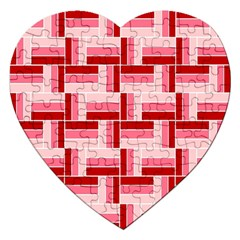 Pink Red Burgundy Pattern Stripes Jigsaw Puzzle (heart)