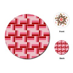 Pink Red Burgundy Pattern Stripes Playing Cards (round)