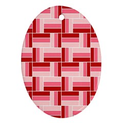 Pink Red Burgundy Pattern Stripes Oval Ornament (Two Sides)