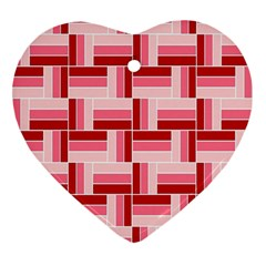 Pink Red Burgundy Pattern Stripes Heart Ornament (Two Sides)