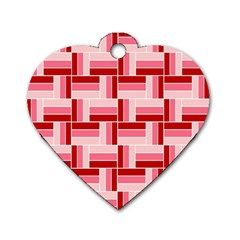 Pink Red Burgundy Pattern Stripes Dog Tag Heart (two Sides)