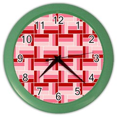 Pink Red Burgundy Pattern Stripes Color Wall Clocks