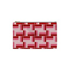 Pink Red Burgundy Pattern Stripes Cosmetic Bag (small)