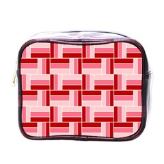 Pink Red Burgundy Pattern Stripes Mini Toiletries Bags